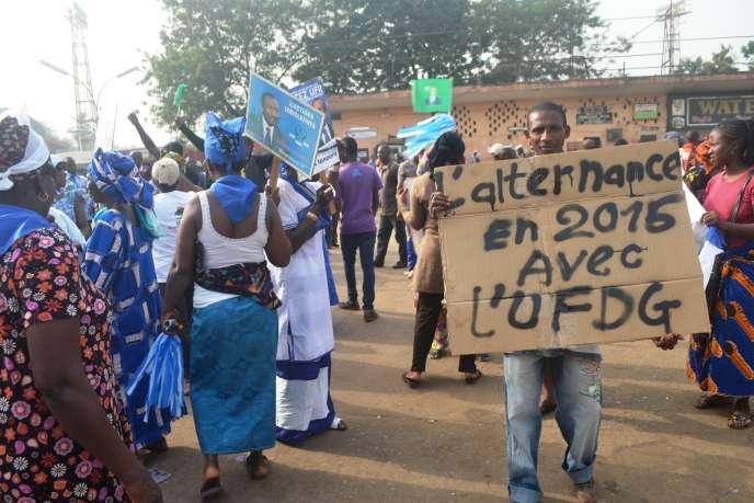 Lors d'un rassemblement de l'UFDG, le 7 janvier 2015, à Conakry.