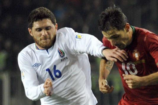 Le joueur azéri Javid Huseynov lors d'un match contre le Portugal en 2013.