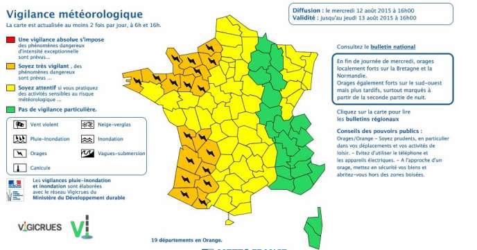 La carte de Météo France, mise à jour à 16 heures, mercredi.