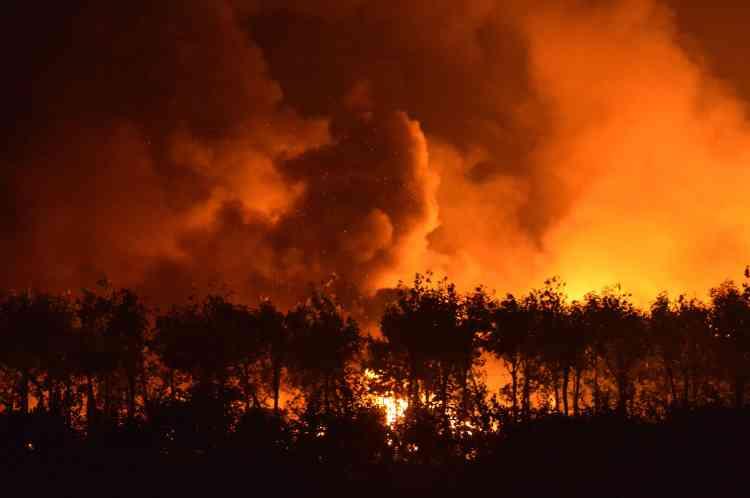 Un grand nombre de personnes ont été piégées à proximité de l'explosion par un gigantesque incendie.