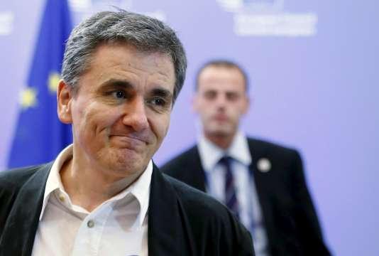 Le ministre grec des finances Euclid Tsakalotos, le 14 août à Bruxelles.