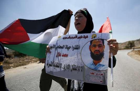 Manifestation de soutien au détenu Mohammed près de Ramallah, le 14 août.