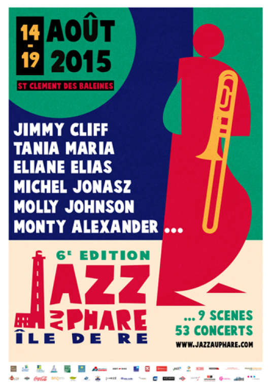 Affiche de la 6e édition du festival Jazz au Phare, à l'Ile de Ré. Graphisme: Martin Bailly.