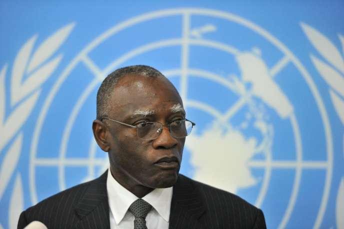 Babacar Gaye, ancien chef de la mission de l'ONU en Centrafrique, en février 2014 à Bangui.