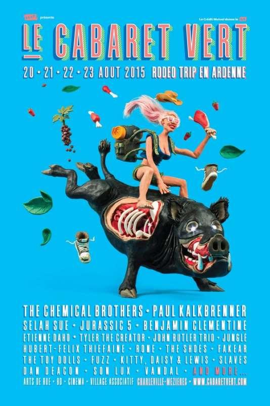 Affiche de la 11e édition du festival Le Cabaret vert, à Charleville-Mézières. Graphisme et conception: collectif Schlep.