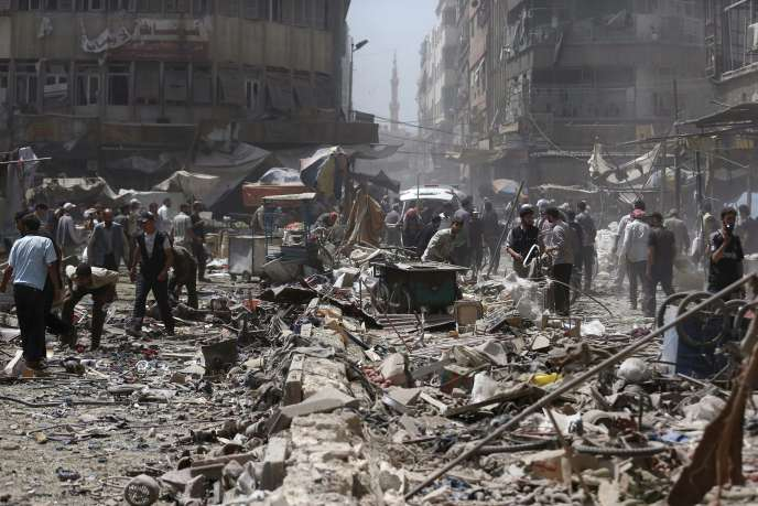 La ville de Douma, près de Damas, a été visée par des frappes du régime de Bachar Al-Assad, le 16 août.