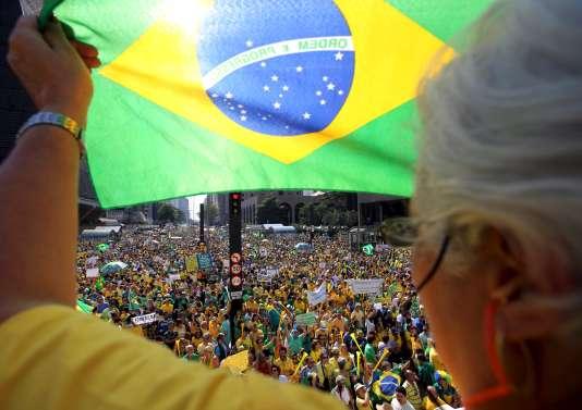 Manifestations dans le centre financier de Sao Paulo, au Brésil.
