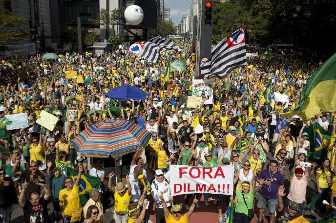 Manifestations à Sao Paulo, capitale économique du Brésil.