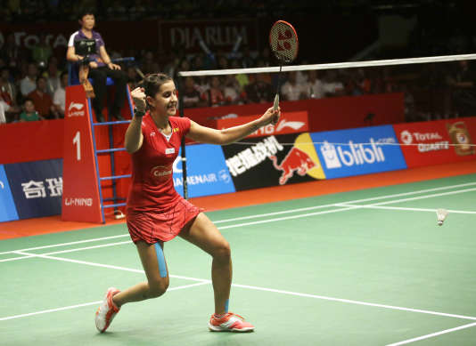 Carolina Marin, lors de sa victoire mondiale en août 2015 à Djakarta.
