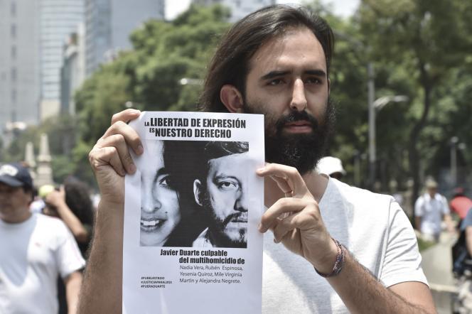 Manifestation pour protester contre le meurtre de journalistes à Mexico, en 2015.