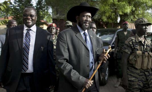L'ancien vice-président du Soudan du Sud Riek Machar (à gauche) et le président Salva Kiir en 2010.