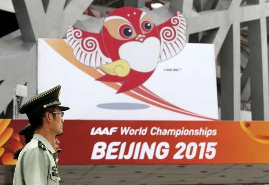 Le stade de Pékin, lundi 17 août, à quelques jours de l'ouverture des Mondiaux d'athlétisme.
