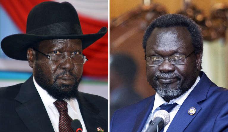 Montage montrant le président du Soudan du Sud, Salva Kiir (à gauche), le 2 juin 2014 à Juba, et son ancien vice-président (aujourd'hui rétabli dans ses fonctions), Riek Machar, le 9 mai 2014 à Addis-Abeba (Ethiopie).
