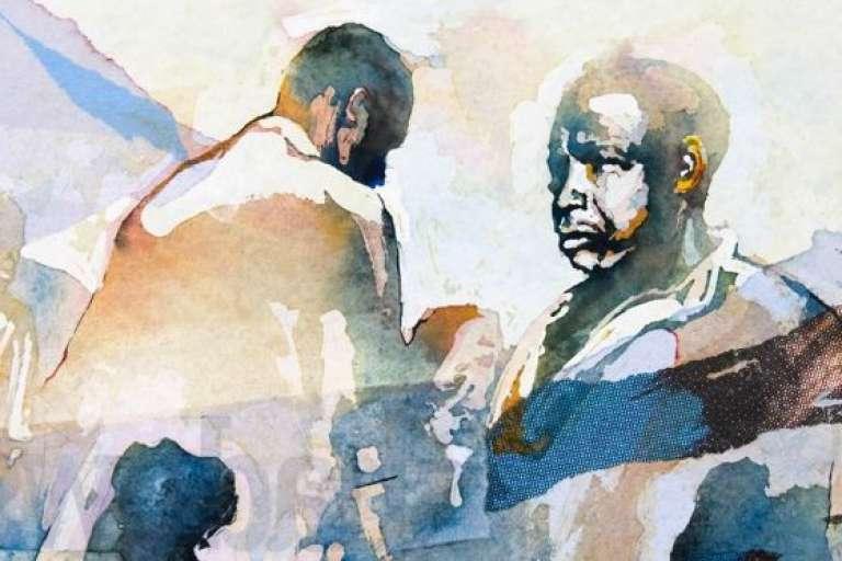 """""""Shadows"""" (Ombres), aquarelles sur papier, une oeuvre du Sud-Africain Bruce Clarke."""