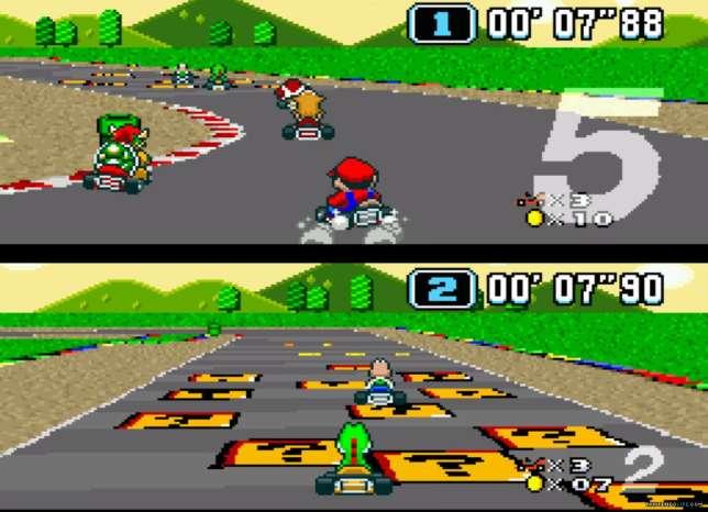 """Un joueur en haut, un joueur en bas, et deux écrans séparés affichés sur une même télé : le """"splitscreen"""" a animé les soirées de millions de joueurs de Super Mario Kart et de ses suites."""