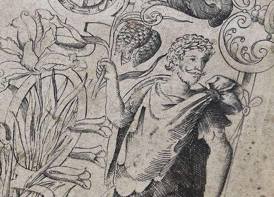 """Ce dessin illustrant la page de garde de la première édition de """"The Herball"""", un livre sur les plantes datant du 16e siècle, serait la seule authentique représentation de William Shakespeare. Photographié à Londres le 19 mai 2015."""