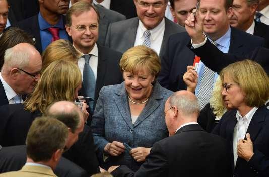 La chancelière allemande Angela Merkel lors du vote pour le troisième plan d'aide pour la Grèce le 19 août.