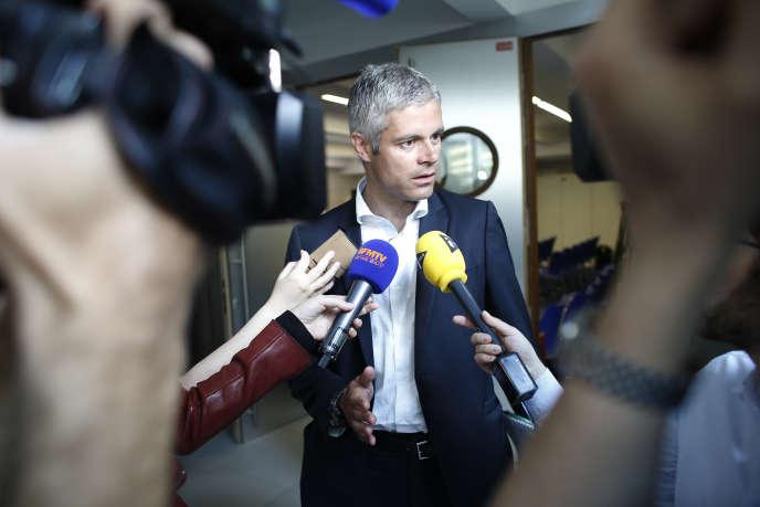 Laurent Wauquiez,  candidat aux élections régionale en Rhône-Alpes-Auvergne, au siège du parti Les Républicains, le 24 juin.