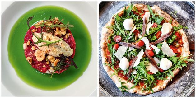 La Gazzetta (à g.), et la pizzeria-trattoria  East Mamma (à dr.) proposent une cuisine ancrée dans l'Italie contemporaine.