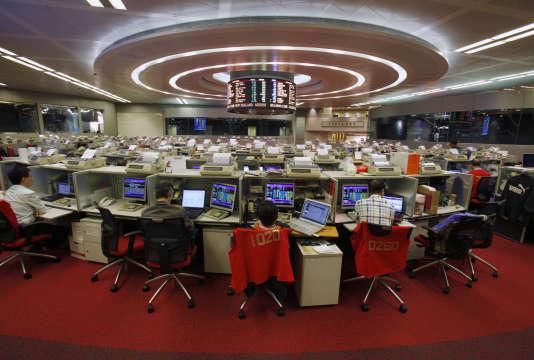 Des traders, à Hong-Kong.
