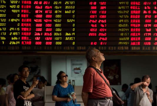 A la Bourse de Shanghaï, le 13 août.
