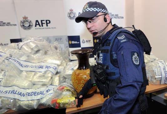 Lors d'une saisie de crystal meth par la police australienne, en 2012 à Sydney.