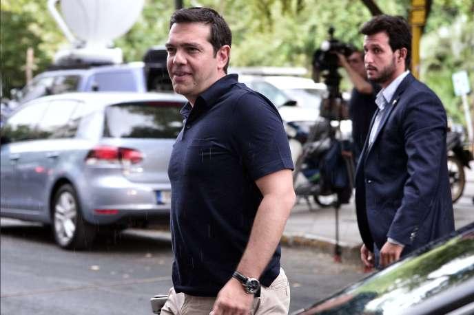 Le premier ministre grec, Alexis Tsipras, vendredi 21août, au siège de Syriza, à Athènes.