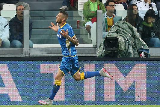 Le Français Cyril Théreau de l'Udinese, célèbre le but de la victoire contre la Juve.