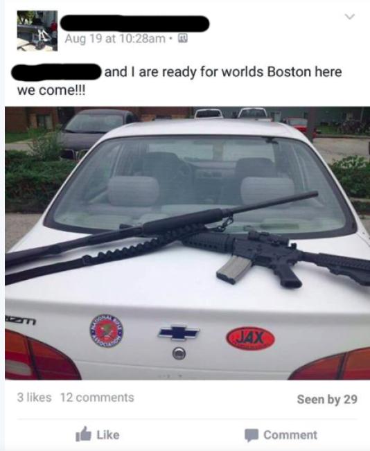 L'un des messages publiés par l'un des suspects sur Facebook.