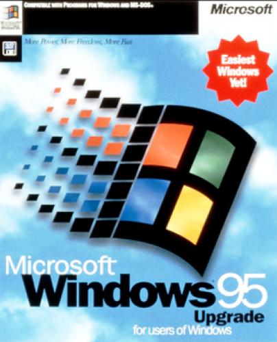 La jaquette de Windows 95 le présentait comme «le Windows le plus simple d'utilisation jamais conçu».