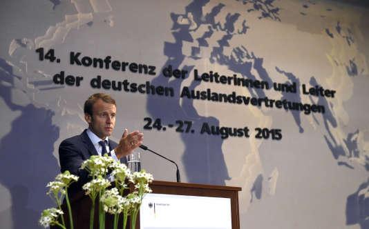Le ministre de l'économie, Emmanuel Macron, à Berlin, ce mardi 25 aôut, lors de la conférence des ambassadeurs.