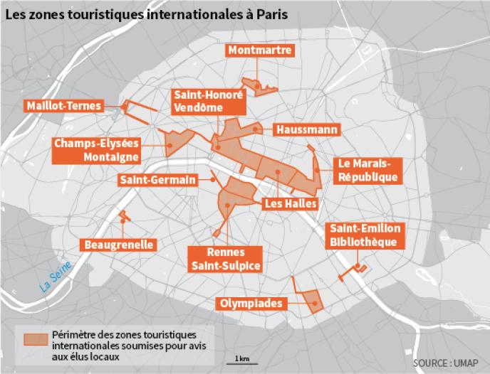 Perimètre des zones touristiques internationales (ZTI) soumises pour avis aux élus locaux