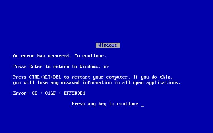 Le célèbre «blue screen of death», «écran bleu de la mort», existait avant Windows 95, mais ce message d'erreur critique sera largement popularisé par le succès de Windows 95.
