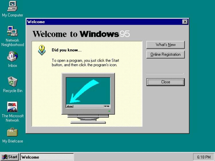 L'écran de bienvenue de Windows 95 après l'installation. Cette version introduit notamment le célèbre bouton démarrer, que Microsoft supprimera par la suite dans Windows 8 avant de le réintroduire dans Windows 10, à la suite des protestations de ses clients.