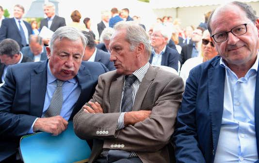 Gerard Larcher, Gérard Longuet et Hervé Novelli à l'abbaye de Rouez-en-Champagne (Sarthe), le 26 août.