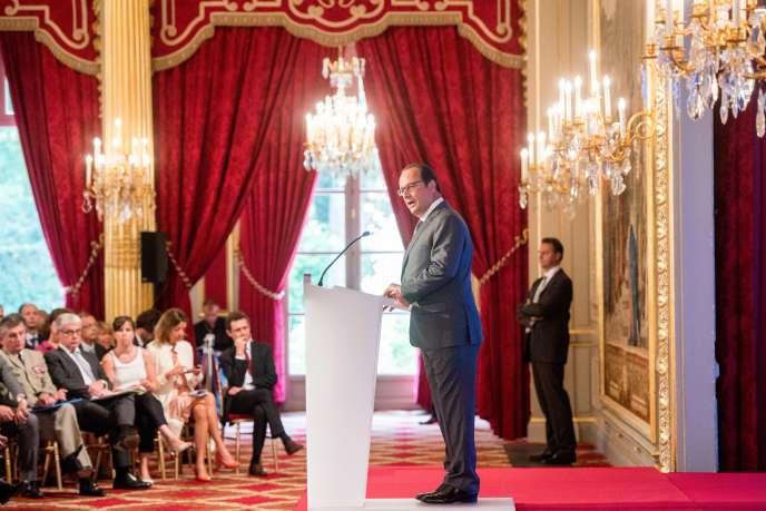 François Hollande, lors de son discours devant les ambassadeurs à l'Elysée, le 25 août 2015.