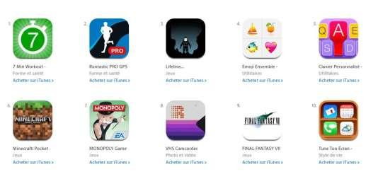 Capture d'écran de l'iTunes Store.