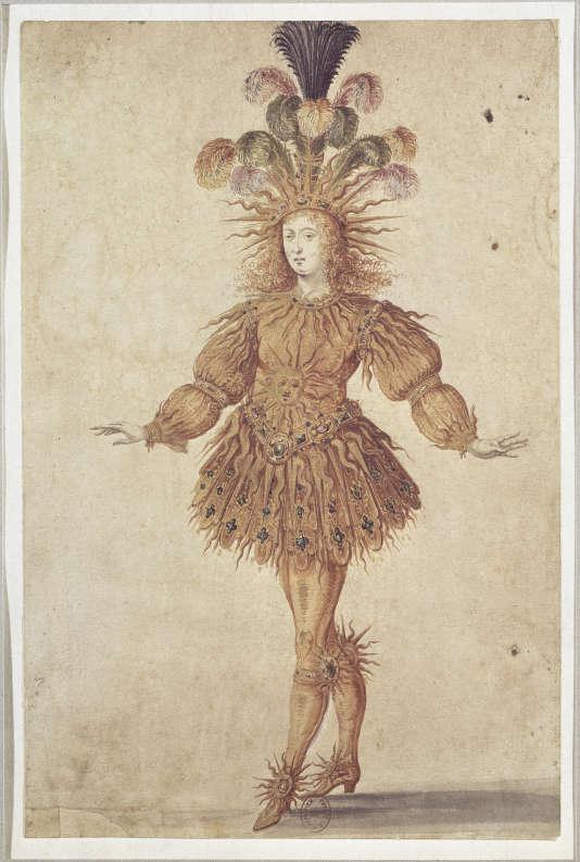 Illustration de Louis XIV dans  « Le Ballet La nuit », en 1653 (auteur anonyme).