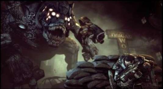 """Caché derrière son """"doudou de béton"""" (ici, des sacs de sable), le héros met un mur entre lui et les monstres qui l'assaillent."""