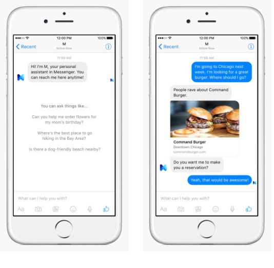 Captures d'écran de Facebook M, l'assistant personnel que teste le réseau social.