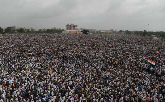 Rassemblement de soutien à la communauté des Patel à Ahmedabad le 25 août 2015.