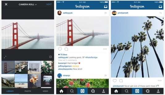 Exemples donnés par Instagram de photos horizontales et verticales.
