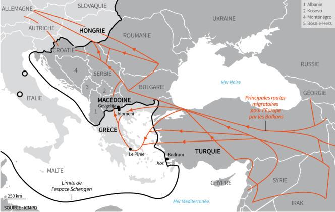 Les principales routes migratoires en Europe orientale.
