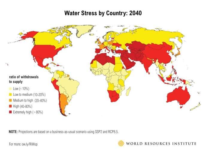 Stress hydrique par pays en 2040