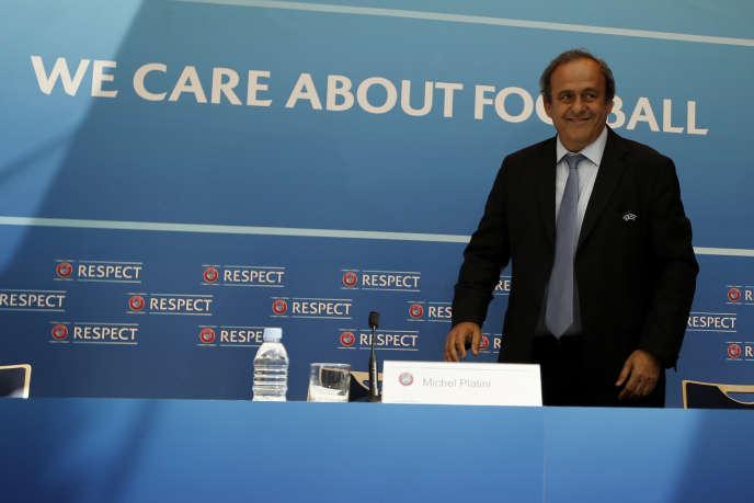 Michel Platini lors de sa conférence de presse à Monaco, vendredi 28 août.