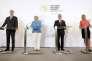 Le premier ministre serbe Aleksander Vucic, la chancelière allemande Angela Merkel, le chancelier autrichien Werner Faymann et Federica Mogherini chef de la diplomatie européenne, lors de leur conférence de presse commune au sommet des Balkans à Vienne le 27 août.