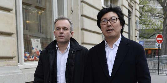 François de Rugy, coprésident du groupe écologiste de l'Assemblée nationale, et son homologue du Sénat, Jean-Vincent Placé, le 4 avril.