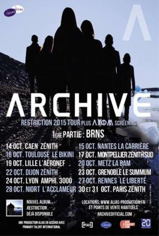 Affiche publiée lors de l'annonce de la tournée française d'Archive, du 14 octobre au 31 octobre.