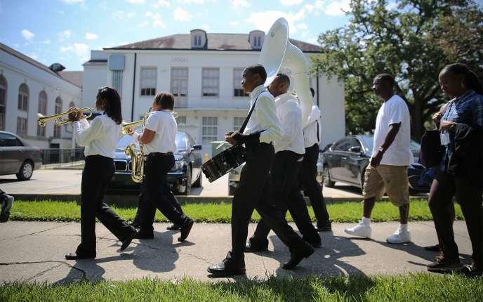 Des musiciens lors d'un enterrement à La Nouvelle-Orléans, le 28 août 2015.
