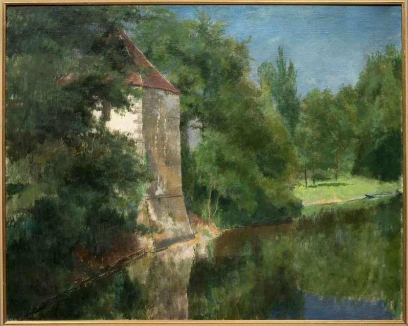 """""""Paysagiste, Henri Rouart a peint en toutes saisons La Queue-en-Brie (Val-de-Marne), où se trouvait la propriété familiale acquise par son père en 1847. Dans le sillage de son maître Corot, il traite tout en délicatesse les variations de la lumière et ses incidences sur l'eau. Le vert, sa couleur de prédilection, est ici décliné en de multiples tons afin de restituer au mieux l'atmosphère bucolique qui règne près de l'étang."""""""